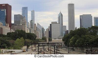 Misty Chicago city center and transit train - A Misty...