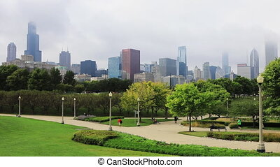 View of the Chicago skyline with park in front - A View of...