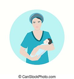 Midwife with a baby - Vector illustration of a smiling...