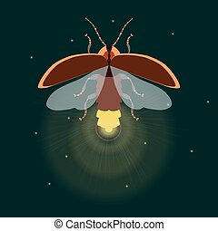 Firefly with open wings - Firefly bug logo design template....