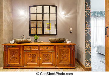 Wooden carved commode - Original home interior and stylish...