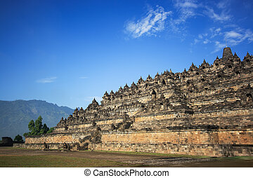 Borobudur temple at sunny day. Central Java. Indonesia