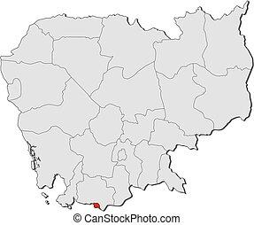 mapa,  cambodia,  -,  kep