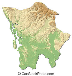 Relief map - Koh Kong (Cambodia) - 3D-Rendering