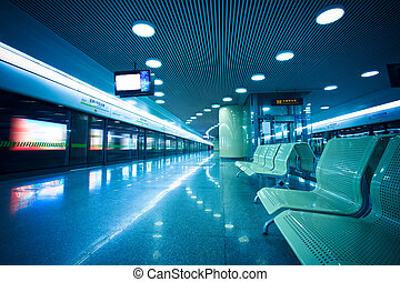 bench of the subway - bench in the hall of shanghai subway...
