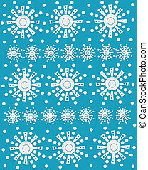 Abstract Snow Flakes on Turquoise - White dots surround row...