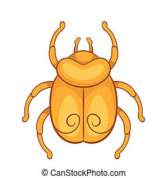 Golden Egyptian scarab beetle icon, cartoon style