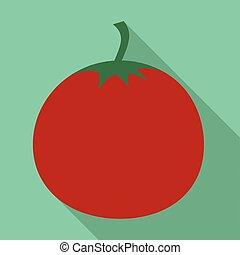Red tomato icon, flat style - Red tomato icon. Flat...