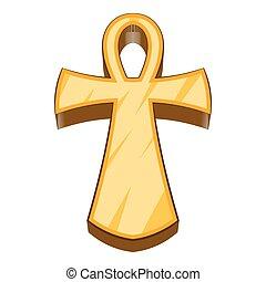 Egyptian ankh icon, cartoon style - Egyptian ankh icon....