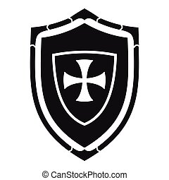 Shield with cross icon, simple style