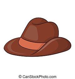 Australia cowboy hat icon, cartoon style