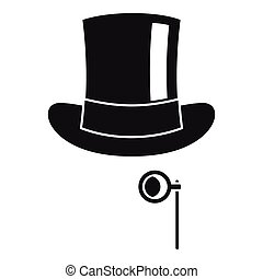 Hat with monocle icon, simple style - Hat with monocle icon....
