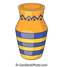 Egyptian vase icon, cartoon style - Egyptian vase icon....