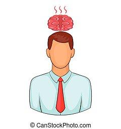 Man overheated brain icon, cartoon style - Man overheated...