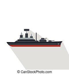 Warship icon, flat style - Warship icon. Flat illustration...