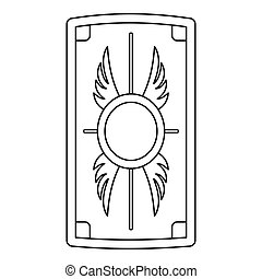 Shield with ornament icon, outline style