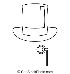 Hat with monocle icon, outline style - Hat with monocle...