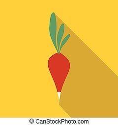 Fresh radish with leaves icon, flat style