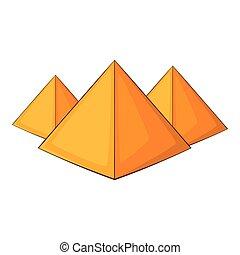 Egyptian pyramids icon, cartoon style - Egyptian pyramids...