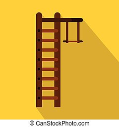 Swedish ladder icon, flat style - Swedish ladder icon. Flat...