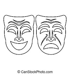 Happy and sad mask icon, outline style - Happy and sad mask...
