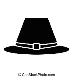 Pilgrim hat icon, simple style - Pilgrim hat icon. Simple...