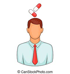 Man with pills over head icon, cartoon style - Man with...