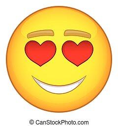 In love emoticon icon, cartoon style - In love emoticon...