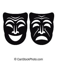 Happy and sad mask icon, simple style - Happy and sad mask...