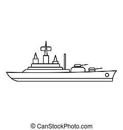 Warship icon, outline style - Warship icon. Outline...