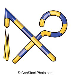 Osiris crossed hook and flail icon, cartoon style - Osiris...