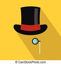 Hat with monocle icon, flat style - Hat with monocle icon....
