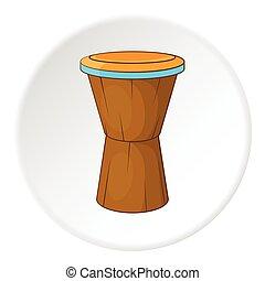 Ethnic drum icon, cartoon style