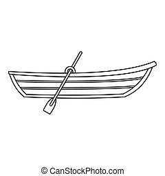 Boat with paddle icon, outline style - Boat with paddle...