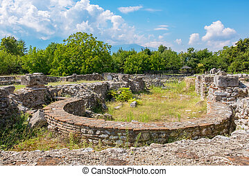 Episcopal Basilica. Archaeological Park of Dion, Greece -...