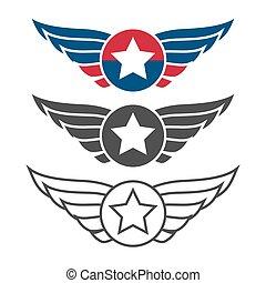 Aviation emblem set, badges or logos
