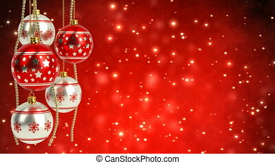 red and silver christmas balls with glitter bokeh background. Seamless loop. 3D render