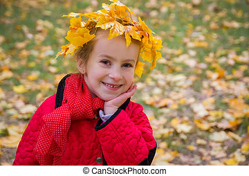 ute girl in autumn wreath - Cute girl in autumn wreath...