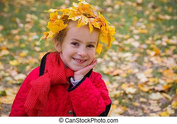 ute girl in autumn wreath - Cute girl in autumn wreath...
