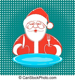 Santa Claus comic style design on dotted background - Vector...