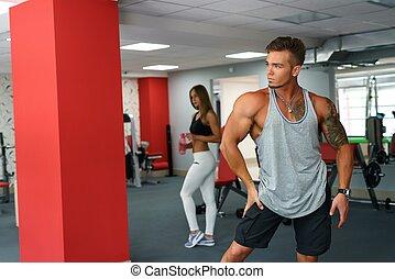foto, atleta,  Muscular, posar, ginásio, bonito