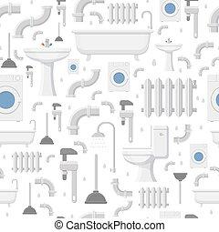 Plumbing service flat icons seamless pattern - Plumbing...