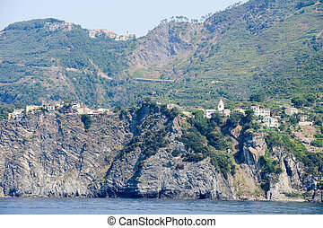 The villages of Corniglia and in the top San Bernardino in...