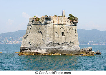 School tower at Palmaria island near Portovenere on cinque...