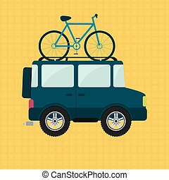 Bike and 4x4 car - Bike on the roof of 4x4 car. Yellow...