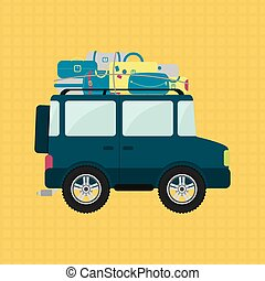 Off-road and luggage - Off road or 4x4 car with luggage on...