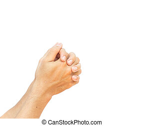 Women hands praying on white background