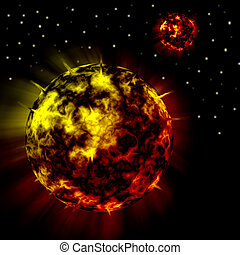 Fire Red Planets in Universe