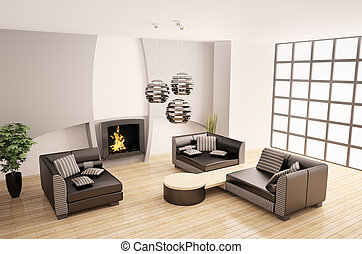 Modern interior with fireplace 3d