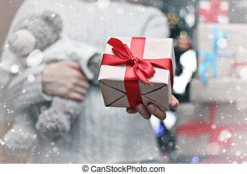 Dar, navidad, regalo, mano